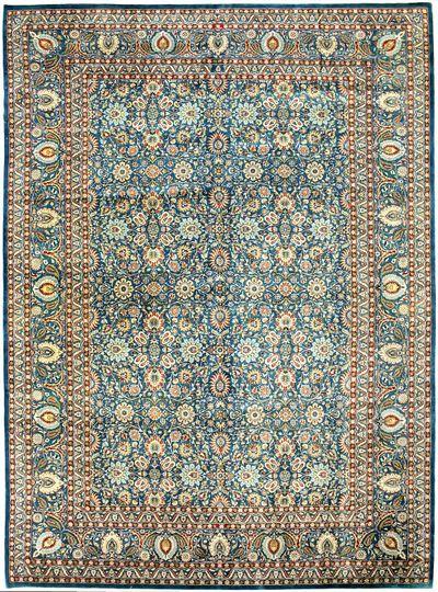 Light Blue Tabriz Rug #7607 • 10′0″ x 13′10″ • 100% Wool