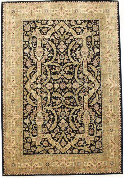 Black Tabriz Rug #2696 • 6′1″ x 8′10″ • 100% Wool
