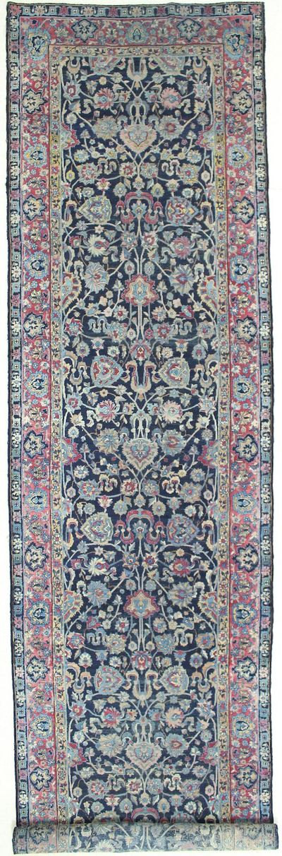 NAVY Saruk Rug #1492 • 4′5″ x 20′2″ • Wool on Cotton
