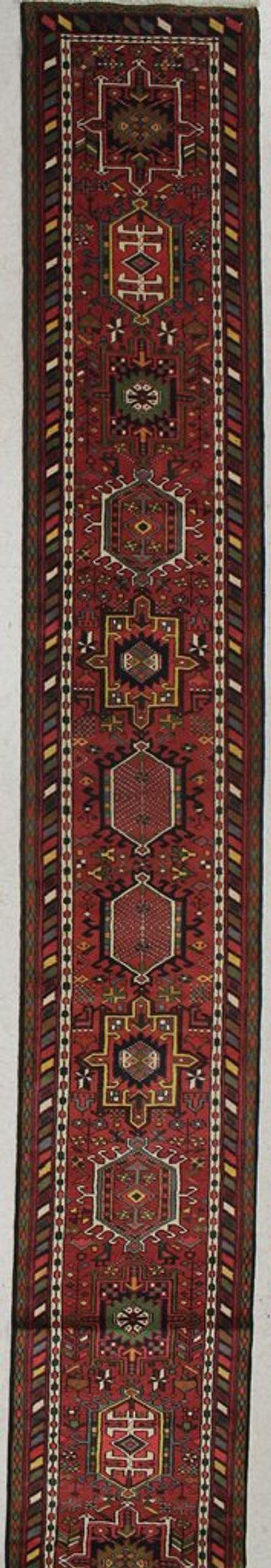 Rust Karacah Rug #7524 • 2′4″ x 16′6″ • Wool on Cotton