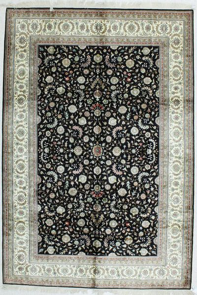 Black Signed Silk Rug #495 • 6′0″ x 9′0″ • 100% Silk