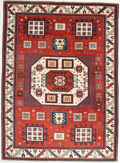 Red Caucasian Rug #1436 • 6′2″ x 8′7″ • 100% Wool