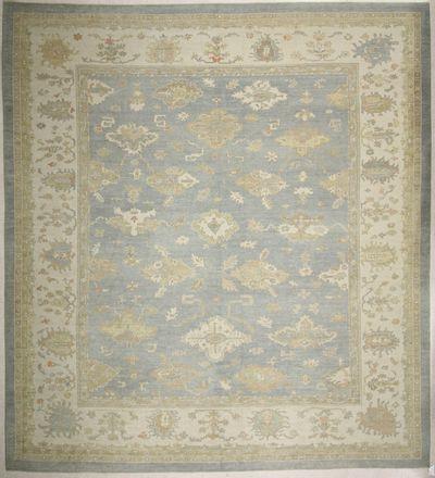 LT BLUE Ushak Rug #6596 • 14′1″ x 15′6″ • 100% Wool