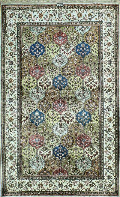 Multicolor Signed Silk Rug #1123 • 3′1″ x 5′1″ • 100% Silk