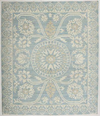 LT BLUE Kothan Rug #6522 • 8′4″ x 9′8″ • Wool on Cotton