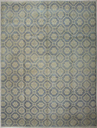 LT BLUE Ushak Rug #7424 • 8′10″ x 11′10″ • 100% Wool