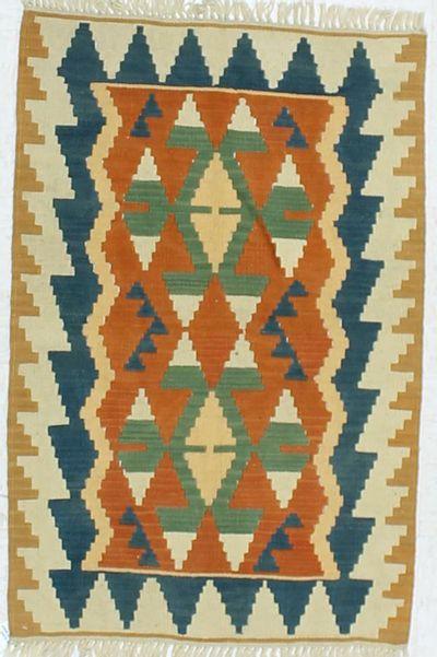 Peach Kilim Rug #856 • 3′1″ x 4′1″ • 100% Wool