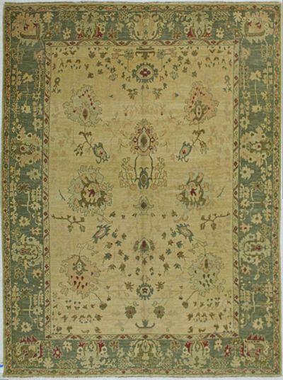 Green Gordes Rug #528 • 9′4″ x 12′5″ • 100% Wool