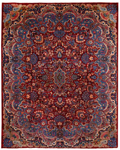BURGUNDY Kerman Rug #8676 • 9′11″ x 12′3″ • 100% Wool