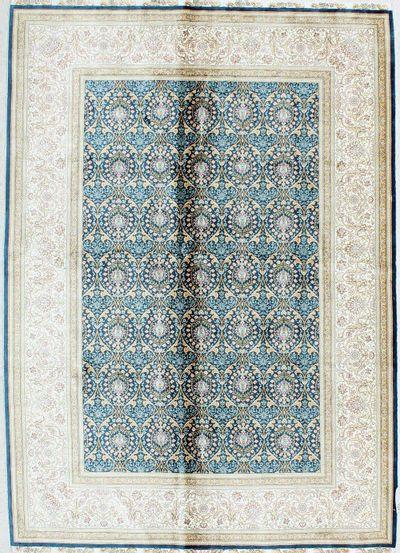 Blue Cezaevi Rug #1113 • 5′7″ x 7′9″ • 100% Silk