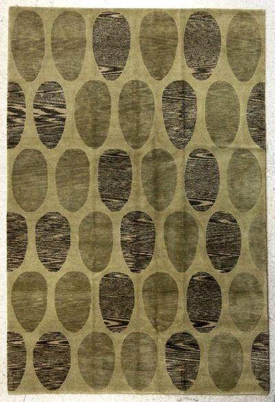 Ivory Modern Rug #7638 • 6′1″ x 9′1″ • Wool on Silk