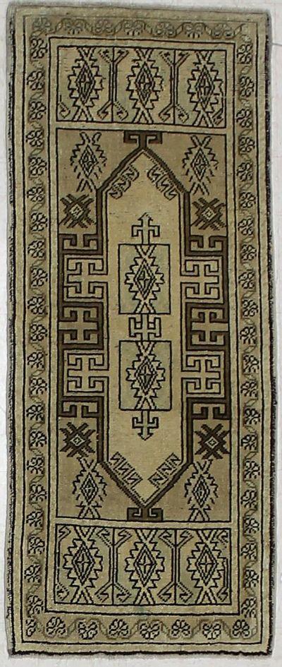 Ivory Konya Rug #1969 • 1′9″ x 4′2″ • 100% Wool