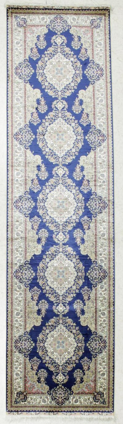 NAVY Cezaevi Rug #7844 • 2′6″ x 10′0″ • 100% Silk
