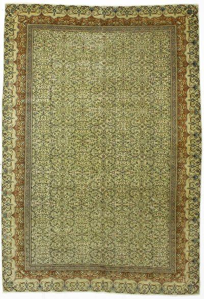 Green Kayseri Rug #476 • 6′6″ x 9′6″ • Wool on Cotton