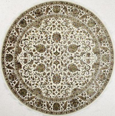 Ivory Silk Flower Rug #7199 • 8′0″ x 8′0″ • Wool on Silk
