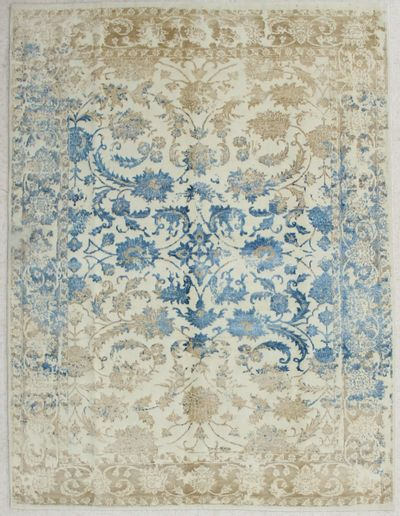Ivory Contemporary Rug #2807 • 5′10″ x 7′9″ • Wool on Silk
