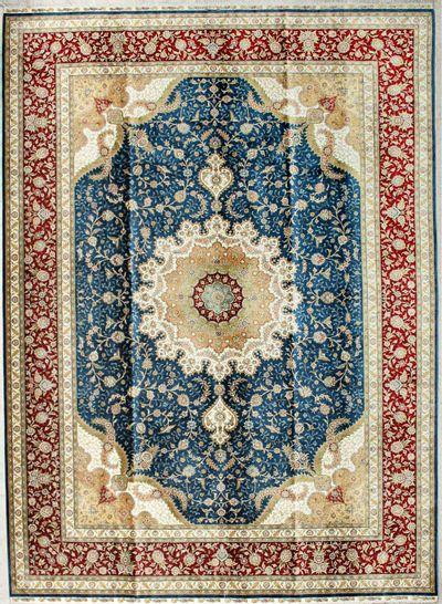 Blue Cezaevi Rug #2589 • 7′3″ x 9′11″ • 100% Silk