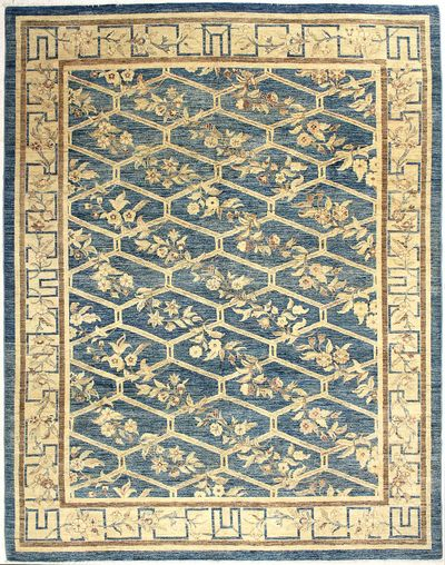 Blue Ushak Rug #7260 • 9′2″ x 11′9″ • Wool on Cotton