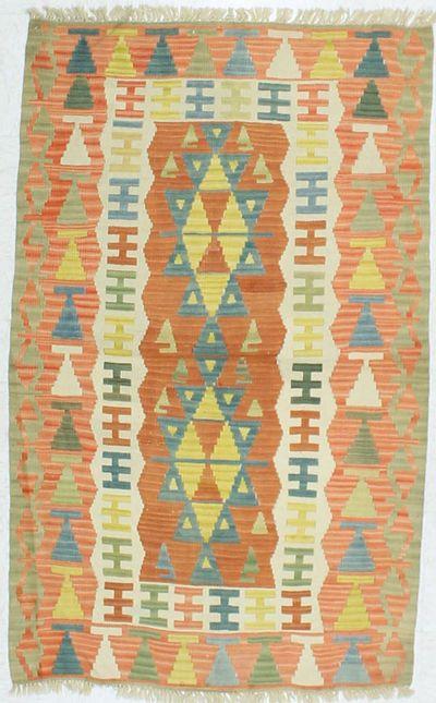 Multicolor Kilim Rug #878 • 3′4″ x 5′9″ • 100% Wool