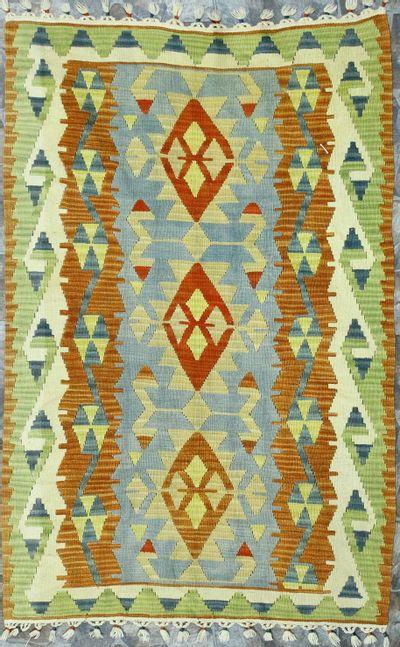 Multicolor Kilim Rug #874 • 3′8″ x 5′9″ • 100% Wool