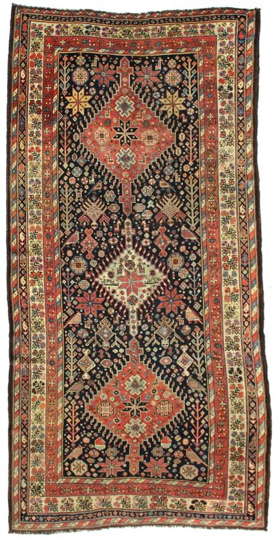 NAVY Caucasian Rug #2789 • 4′11″ x 9′10″ • 100% Wool