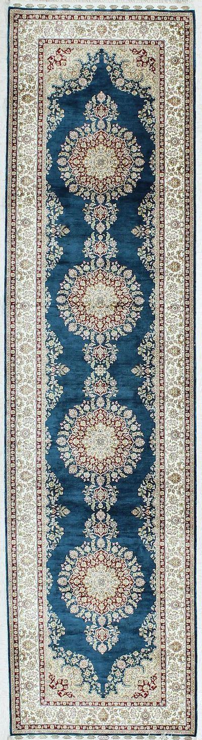 Blue Cezaevi Rug #1122 • 2′7″ x 9′10″ • 100% Silk