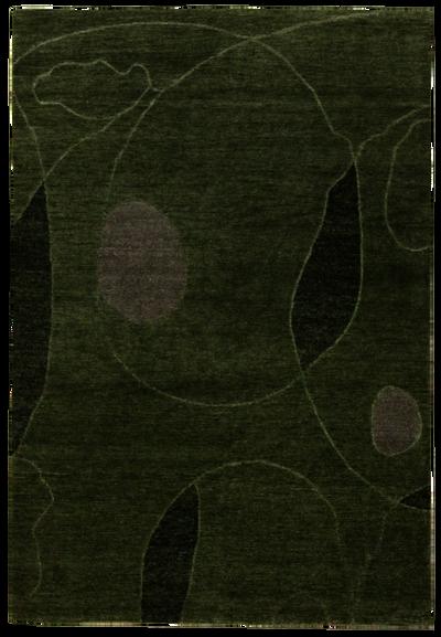 Light Green Modern Rug #7792 • 4′1″ x 6′1″ • 100% Wool