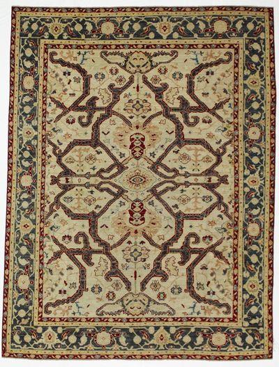 Ivory Ushak Rug #8244 • 6′7″ x 8′8″ • 100% Wool