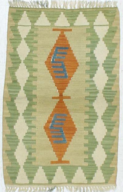 Green Kilim Rug #855 • 2′1″ x 3′1″ • 100% Wool