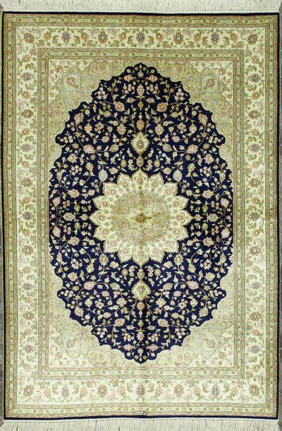NAVY IMZALI Rug #1180 • 4′1″ x 6′0″ • 100% Silk