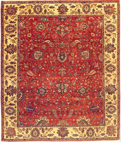 Red Ushak Rug #705 • 7′11″ x 9′4″ • Wool on Cotton