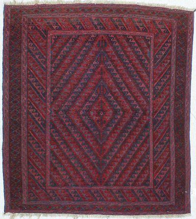 Red Beluch Rug #455 • 4′0″ x 4′6″ • 100% Wool
