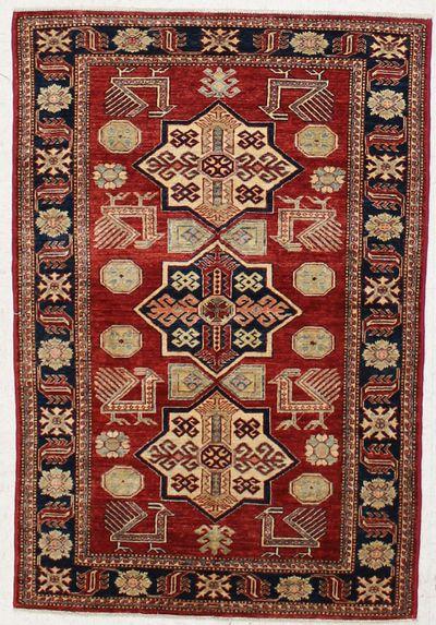 Red Kazak Rug #7311 • 3′11″ x 5′10″ • 100% Wool