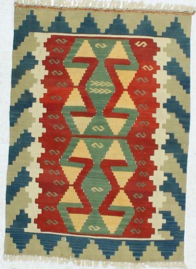 Multicolor Kilim Rug #872 • 2′7″ x 3′9″ • 100% Wool