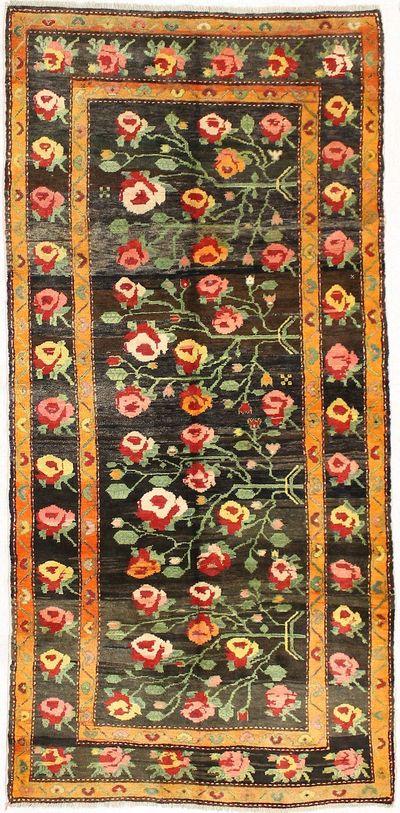 Black Caucasian Rug #2784 • 4′3″ x 9′0″ • 100% Wool