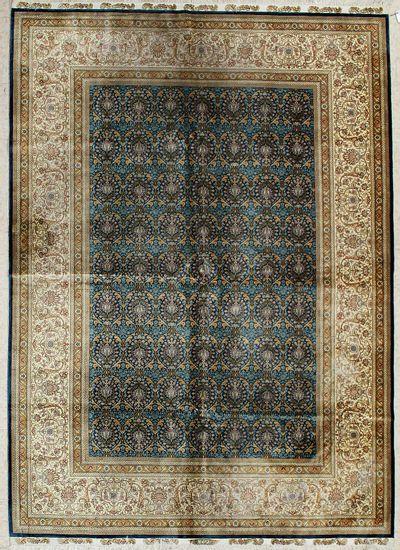 Light Blue Cezaevi Rug #6705 • 5′7″ x 7′11″ • 100% Silk