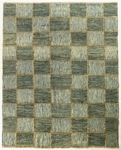 Light Blue Modern Rug #7625 • 8′1″ x 6′7″ • Wool on Silk