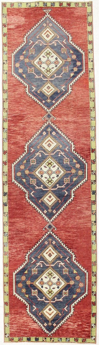 NAVY Konya Rug #2744 • 3′3″ x 11′11″ • 100% Wool