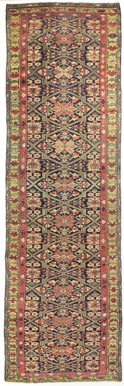 Black Caucasian Antique Rug #8130 • 3′9″ x 12′7″ • 100% Wool