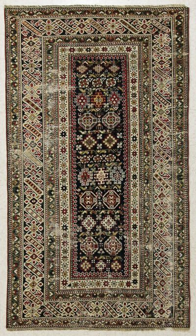 NAVY Caucasian Antique Rug #7738 • 4′0″ x 6′4″ • 100% Wool