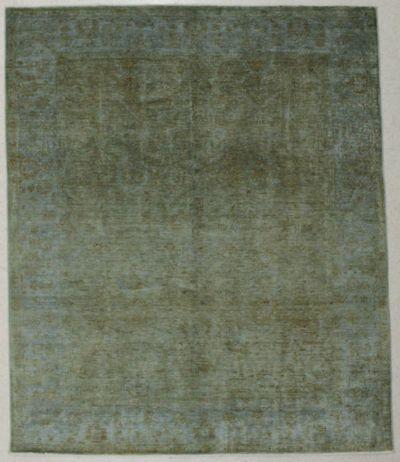 Light Green Himalaya Rug #8527 • 6′7″ x 7′10″ • Wool on Silk