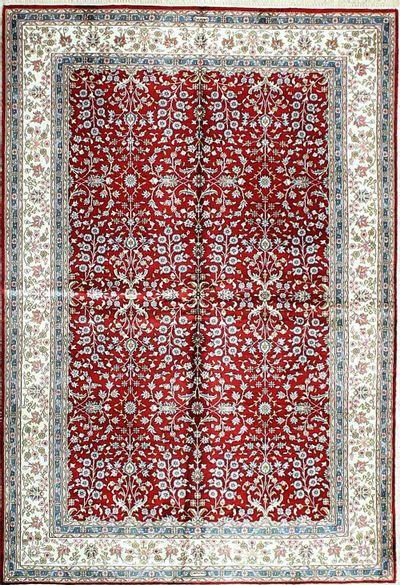 Red IMZALI Rug #1148 • 4′0″ x 5′10″ • 100% Silk