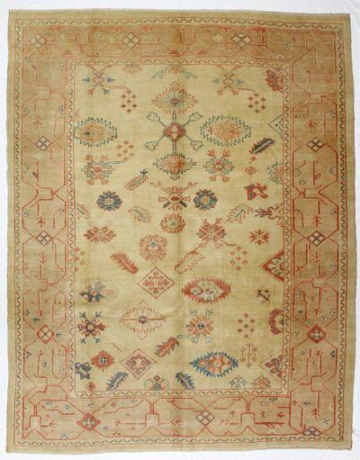 Ivory Ushak Rug #12 • 8′9″ x 11′2″ • 100% Wool