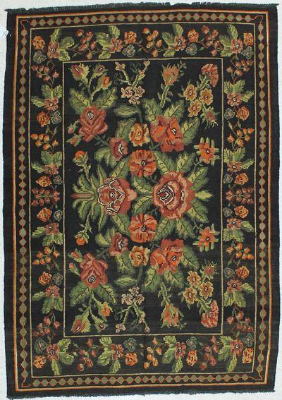 Black Kilim Rug #415 • 5′8″ x 8′0″ • 100% Wool