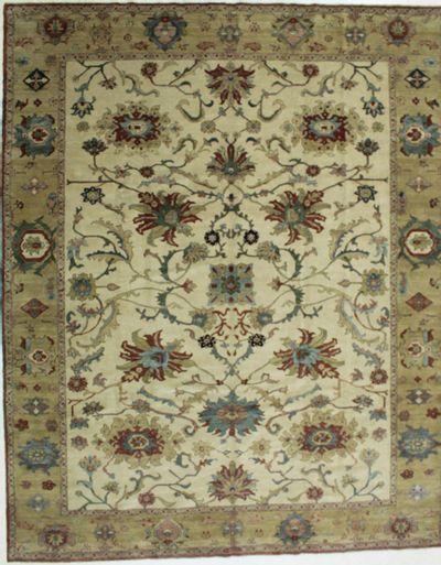 White Ushak Rug #672 • 10′4″ x 12′11″ • 100% Wool