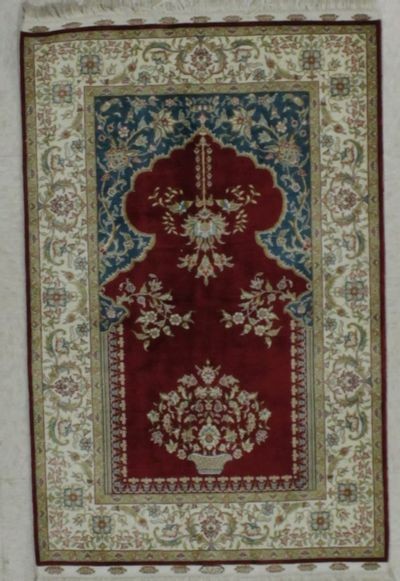 Red Cezaevi Rug #8618 • 2′2″ x 3′5″ • 100% Silk