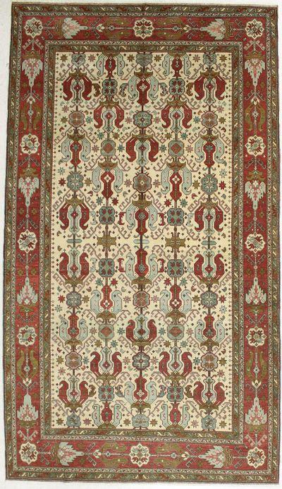 White Caucasian Antique Rug #658 • 6′6″ x 11′5″ • 100% Wool