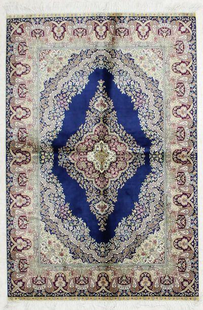 NAVY Cezaevi Rug #1825 • 3′1″ x 4′7″ • 100% Silk