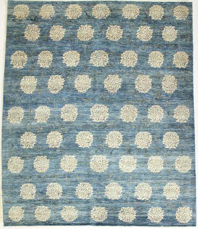Blue BAMIYAN Rug #6579 • 8′3″ x 9′8″ • 100% Wool