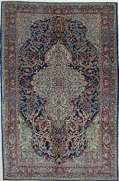 Black Kashan Rug #406 • 6′10″ x 10′7″ • Wool on Cotton